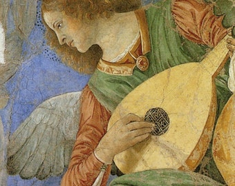 Melozzo da Forli: Music Making Angel. Fine Art Print/Poster (00521)