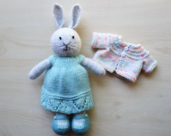 Knit Bunny Doll Knitted Toy Cute Little Girl Soft Toy Dressed Bunny Independence Day Gift for Girls Cotton Stuffed Animal Rabbit Toy