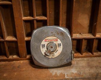 Vintage Evans Steel White-Tape 50ft Measuring Tape No. 505 Tool Man Cave Garage Decor