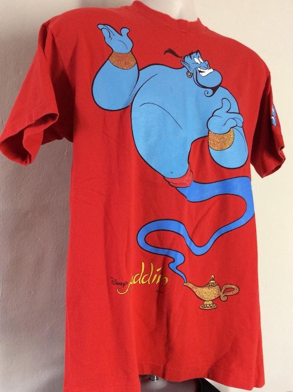 Vtg Early 90s Disney Aladdin Genie T-Shirt Red L Animated Movie Robin Williams 6KVP2f7N