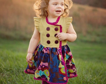 Buy 2 Get 1 Free... Cinnamon Sugar Double Breasted Top Dress PDF Sewing Pattern Flutter Long Knit Sleeve Girl Sz 6-12M to 12