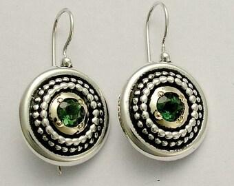Vert oxydés boucles d'oreilles, boucles d'oreilles médaillon, argent sterling boucles d'oreilles, boucles d'oreilles quartz, mixtes métalliques boucles d'oreilles - cœur vert - E0294X