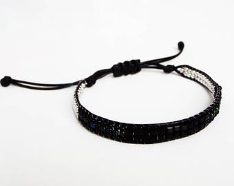Bracelet multi black and silver cord beads black knot sliding Bracelet woman teen jewelry fashion jewelry women gift 2018