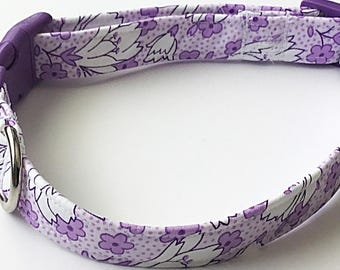 Purple and White Floral Dog and Cat Collar