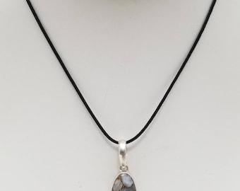Blue Calcite Pendant Necklace, Free Shipping (E17176), Blue Calcite and Sterling Silver Necklace, Pendantlady,pq