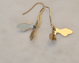 Achene earrings brass gilded with fine gold