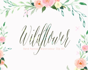 Watercolour Flowers - Hand Painted Clip Art - Wildflower