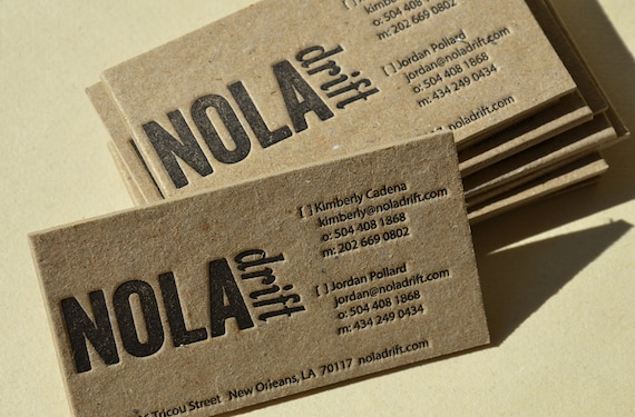 Letterpress business cards brown stained kraft 2 mm thick reheart Images