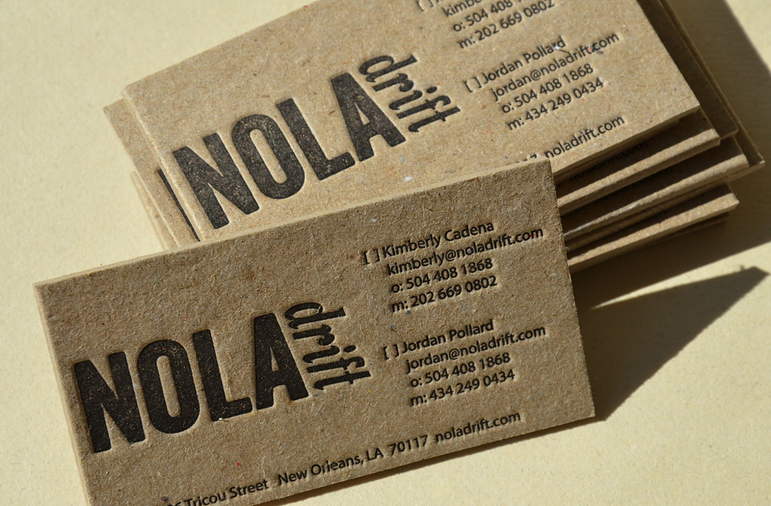 Letterpress Business Cards Brown Stained Kraft 2 mm Ultra