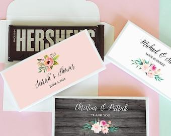 Custom Candy Bar Wrapper Labels for Hershey® Bar Personalized Candy Bar Wrapper Candy Wrappers Chocolate Bar Wrapper (EB4001GDN)  24| pcs