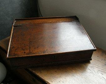 superb antique oak clerks desk , lovely desk tidy,childs work station, Free uk postage
