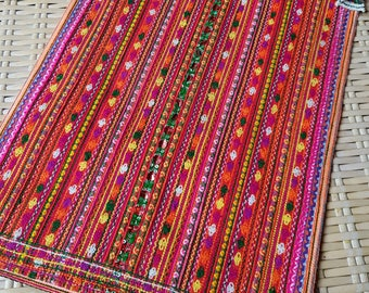 Vintage Hmong Handmade Fabric embroidered fashion neon colour floral Hilltribe craft supplies