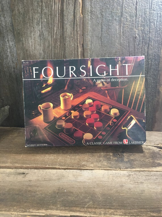 Foursight 1985, game of deception for 2 players, vintage game, family fun night, game night, vintage board game for two, vintage game gift