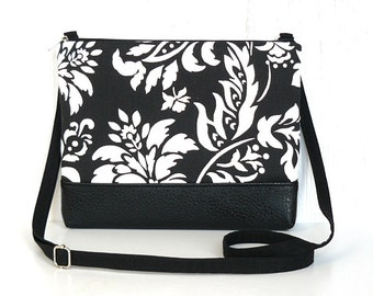 SALE - Small Crossbody Bag, Fabric Hip Purse, Zipper Cross Body Purse in Black and White Floral