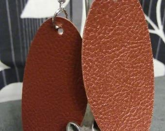 Faux Leather Oval Earrings