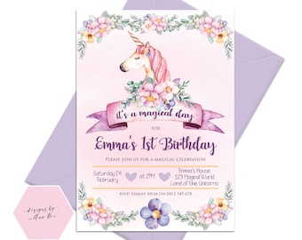 Unicorn Birthday Invitation, Floral Unicorn Invite, Magical Day Birthday, Unicorn 1st Birthday Party Invite, Unicorn First Birthday
