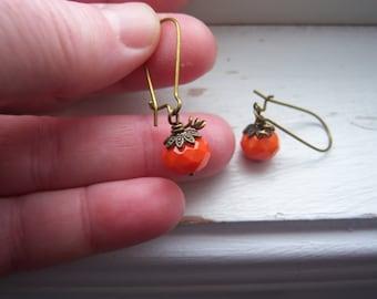 Pumpkin Earrings - Halloween Earrings - Orange Earrings