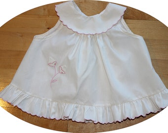 1960 Creamy White Pink Embroidered Toddler Girl Summer Ruffled Pinafore Dress - 18M