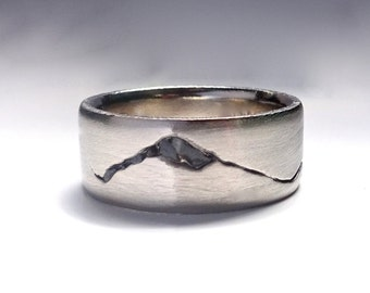 Summit Mountain Ring, 6mm band, Rock Inlay Mountain Ring, Handmade with recyled Silver, Gold, Palladium or Platinum, Mountain Wedding Band
