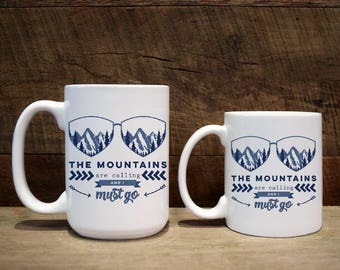 Mug, custom mug, custom coffee mug, custom mugs, The mountains are calling