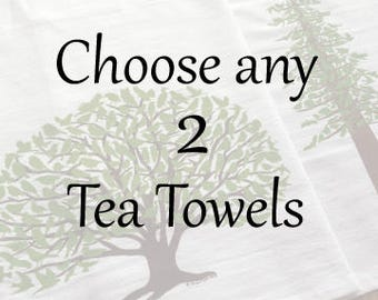 2 Kitchen Tea Towels with Bird, Animal and Tree Silhouettes