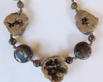 Necklace of gems: electroplated gems, labradorite and pyrite.