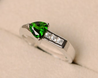 Diopside ring, trillion cut ring, green diopside ring, chrome diopside, arrow rings