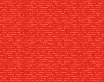 SALE Cub Scouts Attributes Red - Riley Blake Designs - Boy Scouts Text Words Tone on Tone - Quilting Cotton Fabric - choose your cut
