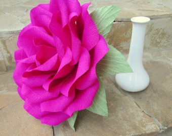 Giant Paper Flower/Giant Paper Rose/Wedding Decoration/ Wedding Bouquets/ Table Flower Decoration/ Hot Pink Rose