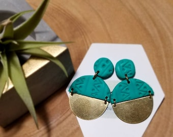 Brass Dangles - Textured turquoise circles