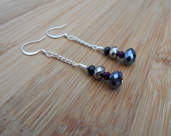 Sterling silver plated purple and silver crystal drop earrings