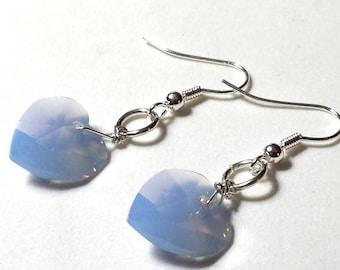 Gorgeous Swarovski Air Blue Opal Heart & Sterling Drop Earrings