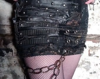 Sordid Skin SceneSick Custom Post Apocalyptic Biker Leather Chains Hand Stitched Stagewear Street Mini Skirt