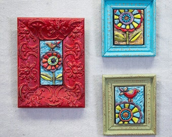 Gallery Wall Art Collage READY TO SHIP Mosaic Wall Art Set of 3 Colorful Mosaic Tile Ceramic Wall Collage Tile Art Boho Art Framed Art
