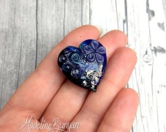 Heart shaped pretty flower Lampwork Focal Bead, Blue, purple