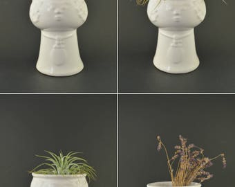 White Head Planter, Vintage Face Vase, Vintage Planter, White Planter, Vintage Vase, White Vase, Scandinavian Ceramic Head Vase