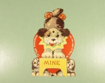 Mechanical Valentine Card - Vintage Puppy Dog Google Eyes
