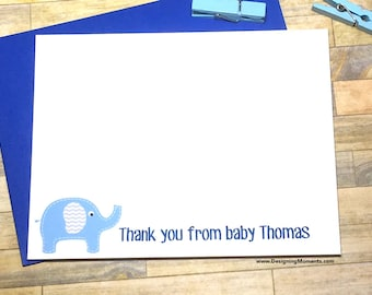 Elephant Stationery - Personalized Note Cards - Baby Shower Thank You Card Set - Blue Chevron Thank You Cards - Baby Shower Cards DM102