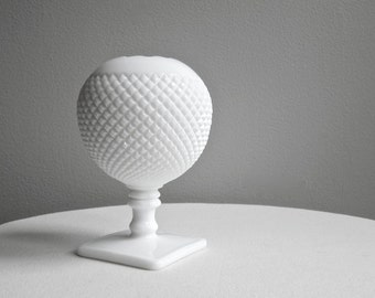 Vintage Westmoreland Milk Glass Ivy Ball Vase - Round White Vase Spherical Square Foot - English Hobnail Milk Glass - Gifts Under 30