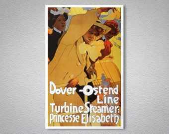 Dover-Ostend Line Turbine Steamer Vintage Travel Poster, Canvas Giclee Print / Gift Idea