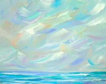 Original Seascape Painting Abstract Coastal 16 x 20 Beach Waves Ocean Blue Landscape Modern Art Contemporary Painting
