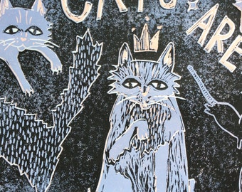 """3-color reductive linoleum cut """"cats are people too!"""""""