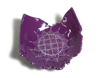Ceramic Ohio Dish - Purple Ohio State Shaped Tea Bag Holder, Prep Bowl, Ring Dish with Doodle Design