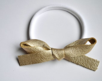 OVERSIZED PLATINUM Metallic Leather Bow Headband Adorable Photo Prop for Newborn Baby Little Girl Child Adult Summer Headwrap Pretty Bow