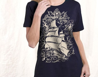 Plus Size Top, T-Shirt, Ship Print, Women's Navy Pirate Ship T-shirt, Gift for Her, Artsy T-shirt XXL