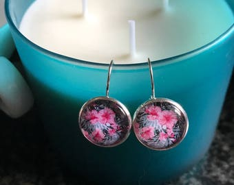 Pink Floral Hibiscus cabochon earrings- 16mm