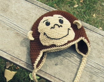 Curious George Monkey Hat Crochet Ear Flap (Toddler to Tween) MADE TO ORDER
