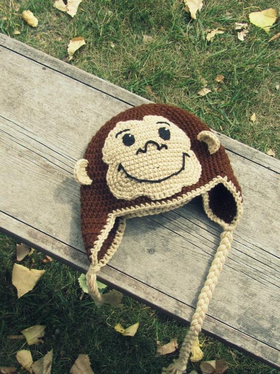 Neugierig George Monkey Hut häkeln Ohr Klappe Kleinkind auf
