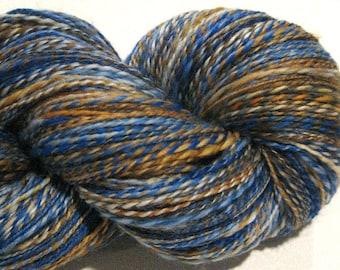Handspun yarn, Huckleberry Finn 480 yards, DK weight, blue yarn, brown yarn, 2 ply,  Superwash BFL wool, Nylon, sock yarn, knitting supplies