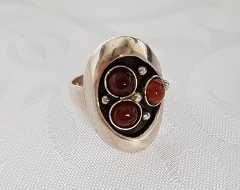 Taxco Sterling Silver Ring Sz 7,  Taxco Silver Amber Ring, Taxco Ring, Sterling Silver Amber Ring, Ring, Silver Ring, Amber Ring